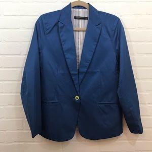 Zara Woman Blazer Sz L Blue Shimmer Single Button
